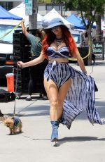 Phoebe Price Seen posing at the farmers market on Sunday in Los Angeles