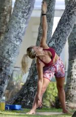 Ali Oetjen Does Yoga while on vacation in Palm Cove, Queensland