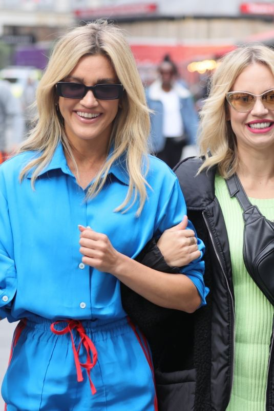 Ashley Roberts Looks chic in a striped tracksuit as shes joined by band mate Kimberly Wyatt in London