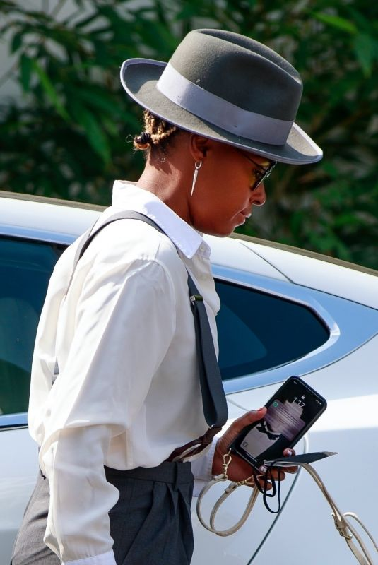 Janelle Monae Was seeing dressed to the nines arriving for lunch at the exclusive San Vicente Bungalows in West Hollywood